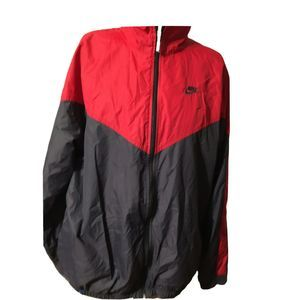 NIKE XL Men's Windbreaker Great Condition Red Grey
